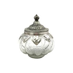 Small Round Glass Jar with Moroccan Lid