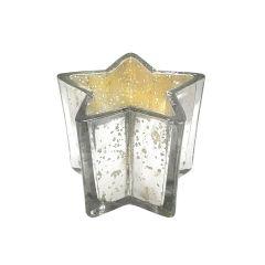 Large Antique Silver Star Tea Light Holder