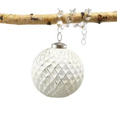 Large Vintage White Classic Crosshatch Bauble