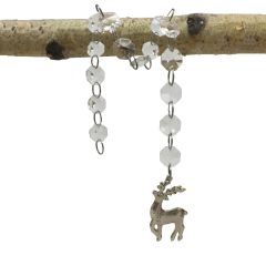 Hanging Glass Gem Chain with Stag Silhouette