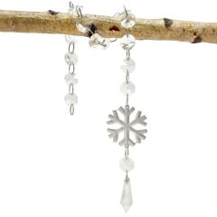 Hanging Glass Gem Chain with Snowflake Silhouette