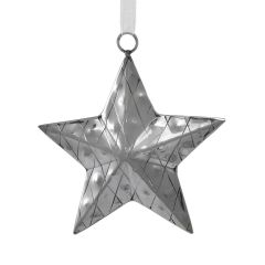 Large Silver Diamond Patterned Star Decoration