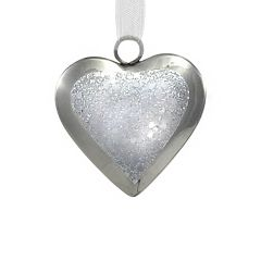 Silver Sparkle Heart Decoration
