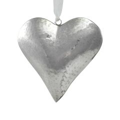 Large Reflective Silver Indent Love Heart Hanging Decoration