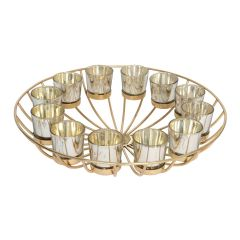 Circular Gold Wire Candle Stand with 12 Glass Tea Light Holders