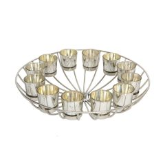 Circular Silver Wire Candle Stand with 12 Glass Tea Light Holders