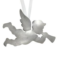 Extra Large Silver Cherub Hanging Decoration with Paisley Detail