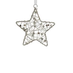 Set of Three Silver Criss-Cross Beaded Star Hanging Decorations