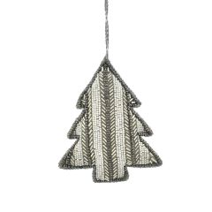 Cream & Silver Beaded Stripe Tree Decoration