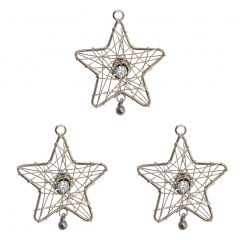 Set of Three Silver Star Gem Hanging Decorations