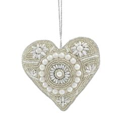 Champagne & Pearl Antique Beaded Heart Decoration