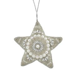 Champagne & Pearl Antique Beaded Star Decoration