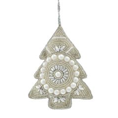 Champagne & Pearl Antique Beaded Tree Decoration