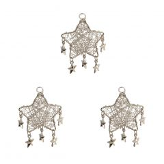 Set of Three Silver Starry Hanging Decorations