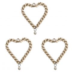 Set of Three Pearl Heart Decorations