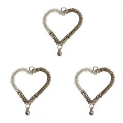Set of Three Silver Gem & Bead Heart Hanging Decorations
