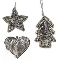 Stone Set of Three Mini Beaded - Star, Heart & Tree