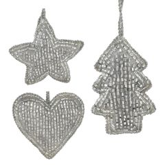 Silver Set of Three Mini Beaded - Star, Heart & Tree