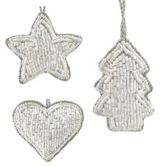 White Set of Three Mini Beaded - Star, Heart & Tree