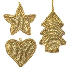 Gold Set of Three Mini Beaded - Star, Heart & Tree