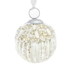 Antique White Beaded Top Bauble