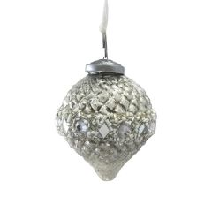 Beaded Ridged Silver Bauble