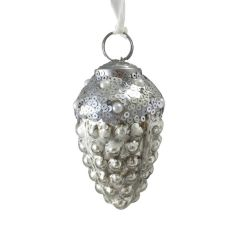 Sequin Topped Fir Cone Bauble