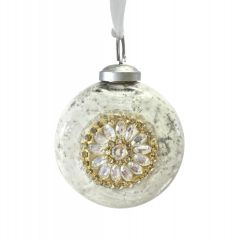 Antique White Beaded Centre Bauble