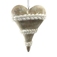 Wooden Heart with Pearlised Leaves Decoration