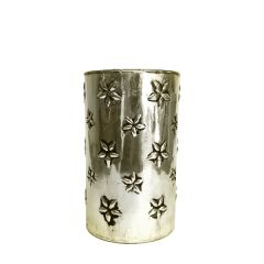Large Daisy Candle Holder - Antique Silver