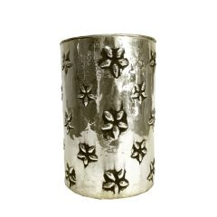 Small Daisy Candle Holder - Antique Silver