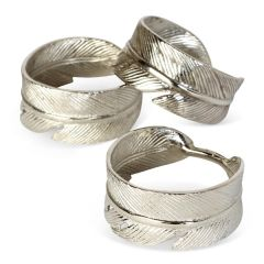 Set Of Four Feather Napkin Rings