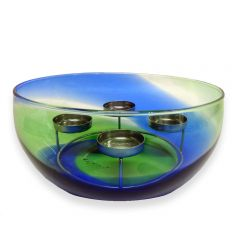 Green & Blue Glass Bowl with Tea Light Holder