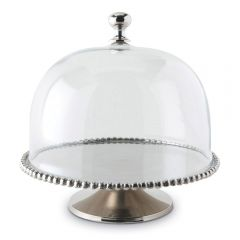 Large Beaded Edge Cake Stand with Glass Dome