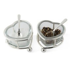Heart Salt & Pepper Set with Two Spoons