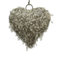 Small LED Beaded Hanging Heart with Chain
