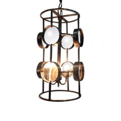 Galaxy Cylinder Magnifying Chandelier - Antique Silver Finish
