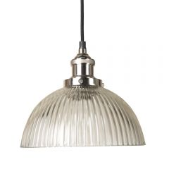 Polished Nickel Pendant Fitment With Ribbed Dome Shade