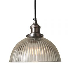 Antique Silver Pendant Fitment With Ribbed Dome Shade