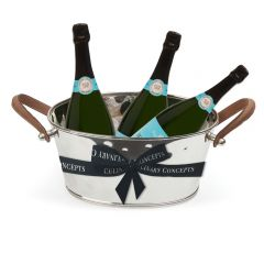 Leather Handled Half Size Champagne Bath & 3 Bottles of Royal Riviera Champagne