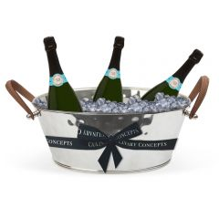 Leather Handled Champagne Bath & 3 Bottles of Royal Riviera Champagne