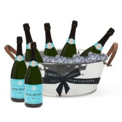 Leather Handled Champagne Bath & 6 Bottles of Royal Riviera Champagne