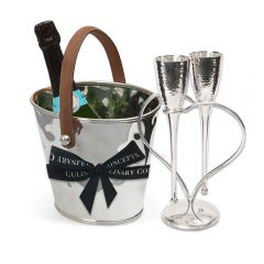 Leather Handled Wine Cooler, Entwined Heart Lovers' Flutes & Bottle of Royal Riviera Champagne