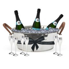 Leather Handled Champagne Bath, 6 Champagne Goblets & 3 Bottles of Royal Riviera Champagne