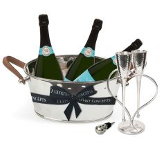 Leather Handled Half Size Champagne Bath, Heart Lover's Flutes, Cork Bottle Stop & 3 Bottles of Royal Riviera Champagne
