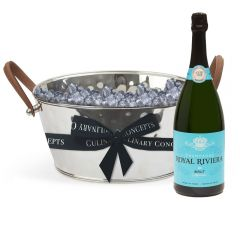 Leather Handled Half Size Champagne Bath & Magnum Bottle of Royal Riviera Champagne