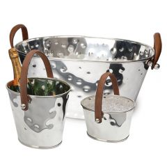 Leather Handled Champagne Bath, Wine Cooler & Ice Bucket Set - Pre-order - Due Early November
