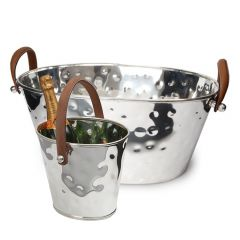 Leather Handled Champagne Bath & Wine Cooler Set