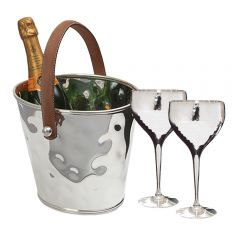 Leather Handled Wine Cooler & Pair of Wine Goblets Set