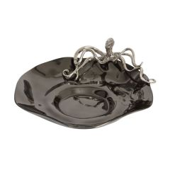 Black Scalloped Edge Bowl with Silver Octopus
